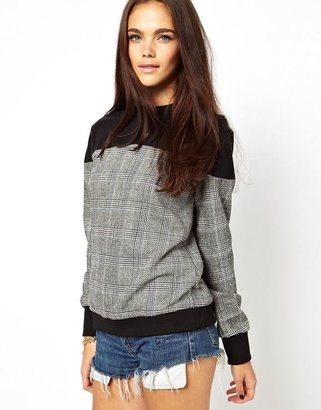 Glamorous Sweatshirt With PU And Check Panel