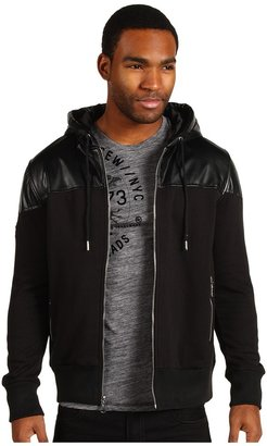 Ecko Unlimited Faux Leather Overlay Hoodie (Black) - Apparel