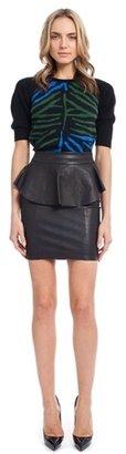 Torn By Ronny Kobo Gigi Leather Peplum Skirt