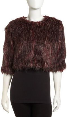 Romeo & Juliet Couture Cropped Faux Fur Jacket, Burgundy