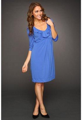 Donna Ricco Elbow Sleeve Ruffle Front Dress (Ultramarine) - Apparel