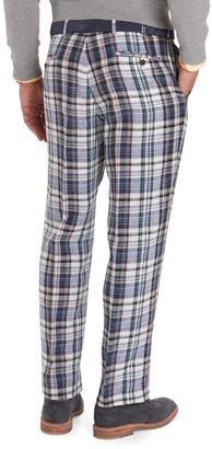 Brooks Brothers Madison Fit Tartan Linen Trousers