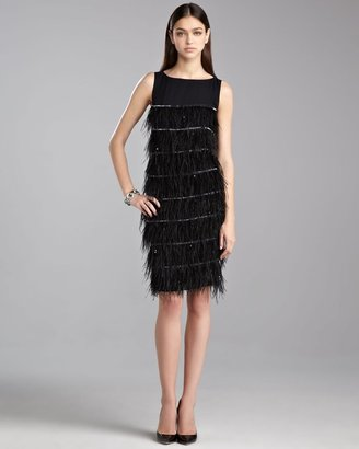 St. John Tiered Feather Cocktail Dress, Caviar