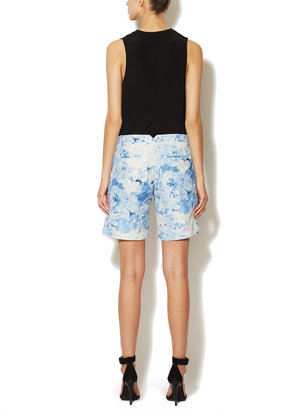 Tibi Daises Silk-Linen Pleated Short