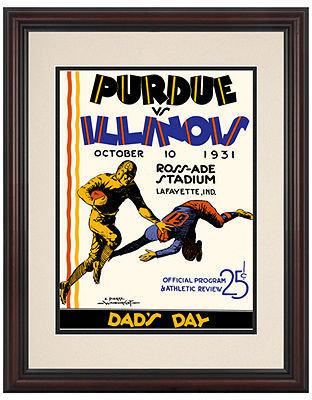 Mounted Memories Wall Art, Framed Purdue vs Illinois Football Program Cover 1931