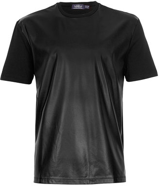 Topman Black Leather Look Front T-Shirt
