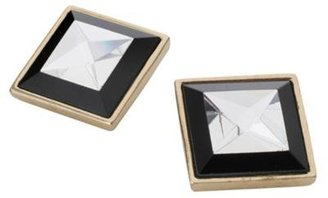 Star by Julien Macdonald Black and gold square stud earring