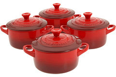 Le Creuset Set of 4 Stoneware Cocottes w/ Cookbook
