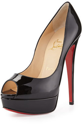 Christian Louboutin Lady Peep Patent Red Sole Pump $945 thestylecure.com