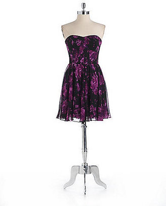 GUESS Floral Print Strapless Dress