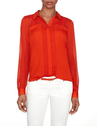 The Limited Sheer Paneled Blouse