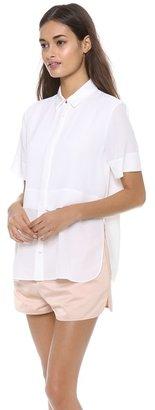 Alexander Wang Silk Chiffon Combo Short Sleeve Top