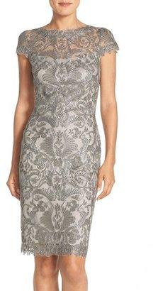 Women's Tadashi Shoji Illusion Yoke Lace Sheath Dress $398 thestylecure.com