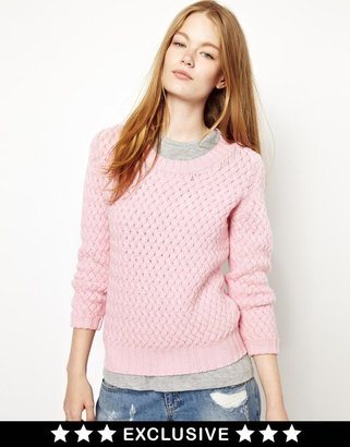 Geelong CC Cashmere by John Laing Wool Sweater in Basket Weave