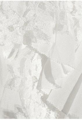 Oscar de la Renta Lace and ruffle-trimmed silk-chiffon blouse