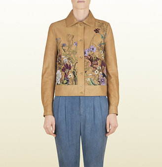 Gucci Khaki Leather Jacket With Flora Embroidery