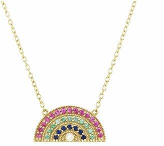 Andrea Fohrman Small Multi Rainbow Pendant Necklace - Yellow Gold