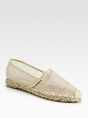 Valentino Glamorous Lace Espadrille Ballet Flats