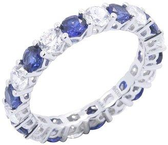 Diamonique & Simulated Sapphire Eternity Ring,Platinum Clad