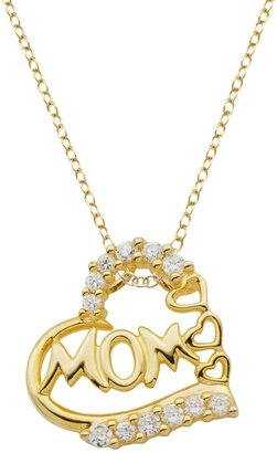 18k Gold Over Silver Cubic Zirconia Mom Heart Pendant