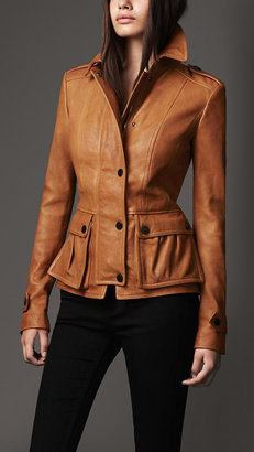 Burberry Fitted Leather Jacket