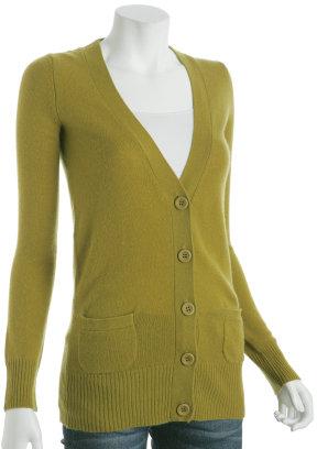 CeCe chartreuse cashmere long v-neck cardigan