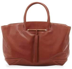 Brian Atwood Grace East/West Leather Tote Bag, Brown