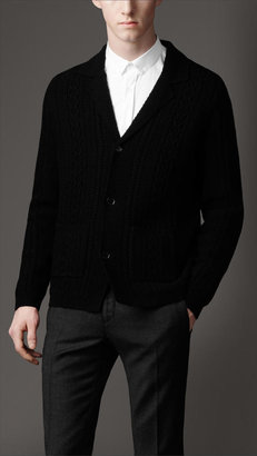 Burberry Cable Knit Tuxedo Cardigan
