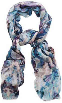 Lily & Lionel Panther-print fine-knit scarf