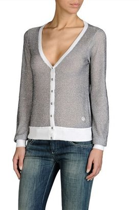 Armani Jeans Lurex Jacquard Cardigan Cotton Trim