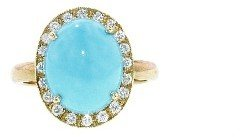 Andrea Fohrman Oval Turquoise and Diamond Ring - Yellow Gold
