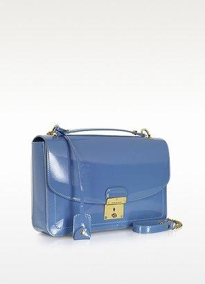 Marc Jacobs Polly Denim Blue Patent Leather Shoulder Bag