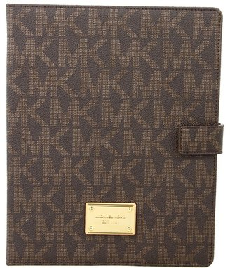 MICHAEL Michael Kors Saffiano Tablet Stand (Brown PVG Logo) - Bags and Luggage