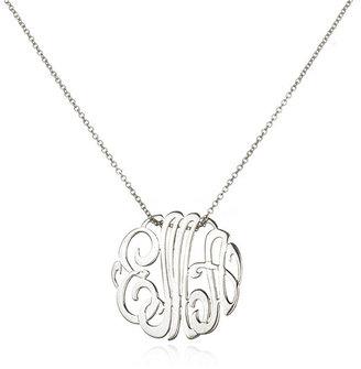 ginette_ny Mini Lace Monogram Necklace, White Gold