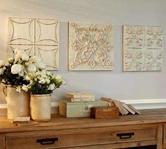 Stamped Ivory Metal Tiles Set