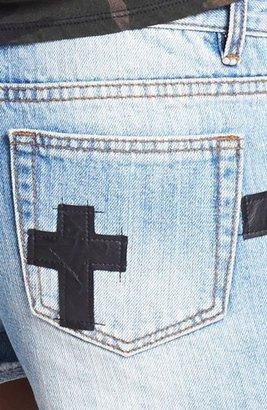 Blu Pepper Faux Leather Cross Denim Shorts (Juniors) (Online Only)