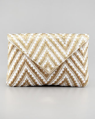 Elaine Turner Designs Bella Zigzag Raffia Envelope Clutch Bag, Gold