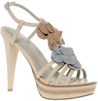 KELSI DAGGER Kelsi Dagger Hania Leather Heeled Sandal With Flower Applique $156 thestylecure.com