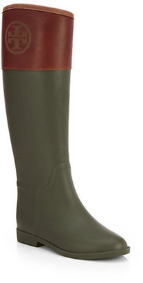 Tory Burch Diana Leather-Trimmed Rain Boots