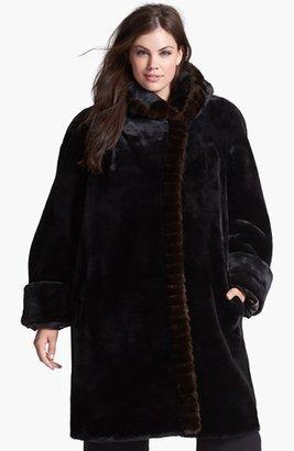 Gallery Hooded Faux Fur Walking Coat (Plus Size)
