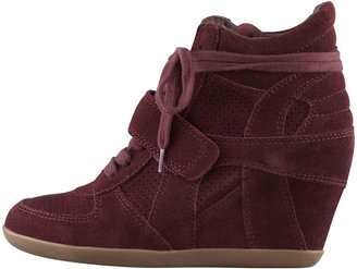 Ash Bowie Suede Wedge Sneaker, Bordeaux