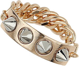 Topshop Mixed Metal Spike ID and Chain Bracelet