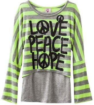 Knitworks love peace hope striped neon crop top and tank set - girls 7-16