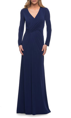 La Femme Long-Sleeve Ruched Jersey Evening Gown
