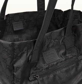 Gucci Black Gg Nylon Tote From Viaggio Collection