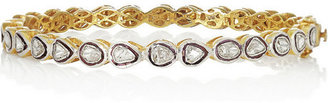 Artisan 14-karat gold-plated diamond bangle