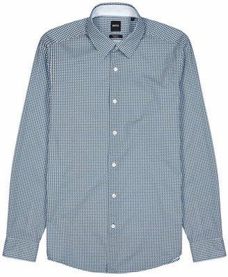 BOSS Blue Geometric-print Cotton-blend Shirt