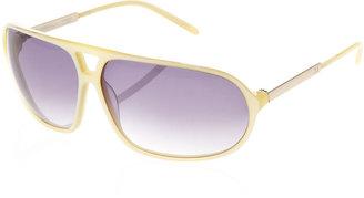 3.1 Phillip Lim Rocco Rectangular Aviator Sunglasses, Ivory