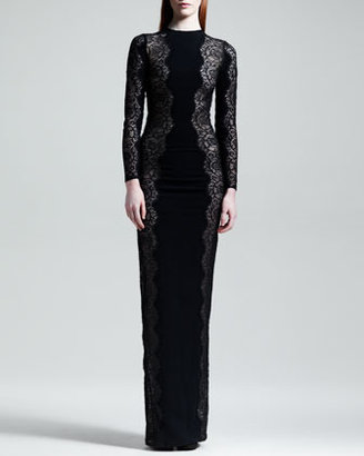 Stella McCartney Scallop-Panel Lace Long-Sleeve Gown, Black