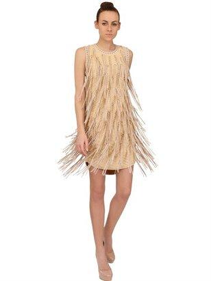 Salvatore Ferragamo Leather Fringed Cotton Dress